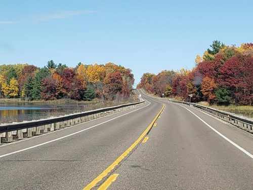 Wisconsin State Trunk Highway 46, heading north towards Balsam Lake in Polk County during fall colors.