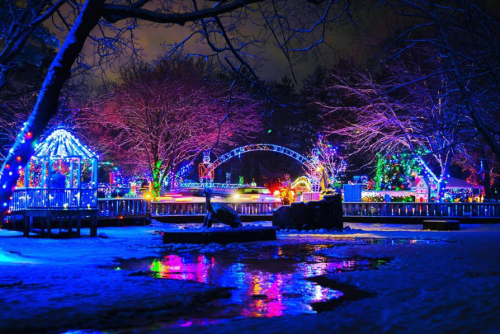 Christmas Village holiday lights at Irvine Park in Chippewa Falls, Wisconsin. Photo credit: Mike Howard