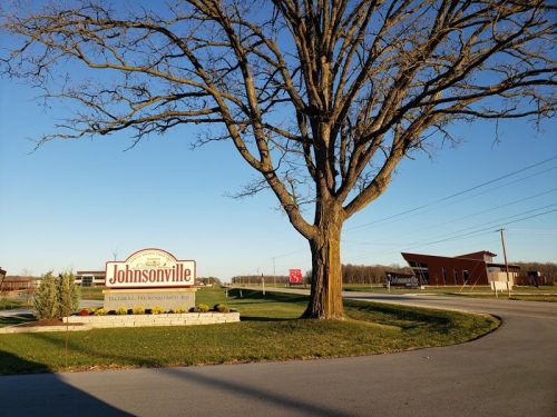 The sign for Johnsonville's Global Headquarters along County J in Sheboygan County; the Johnsonville Marketplace is right across the street.