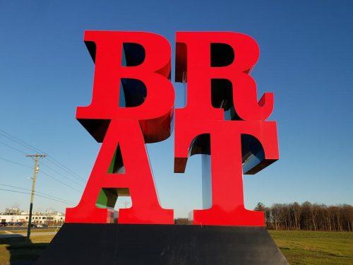 BRAT sculpture outside the Johnsonville Marketplace near Sheboygan Falls, Wisconsin