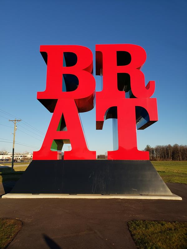 BRAT sculpture outside the Johnsonville Marketplace near Sheboygan Falls, Wisconsin