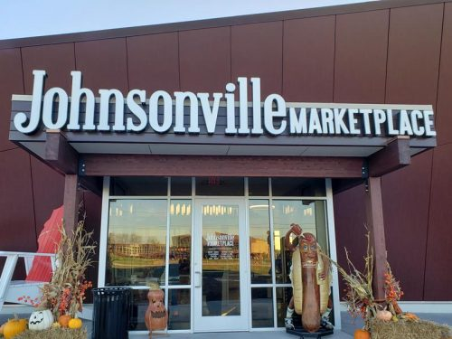 The entrance to Johnsonville Marketplace, along County J north of Sheboygan Falls, Wisconsin