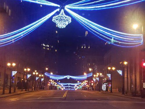 Chandelier lights down Wisconsin Avenue in Milwaukee, looking east