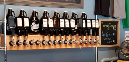 Taps at Racine Brewing Company, along Highway 32/Main Street in Racine, Wisconsin