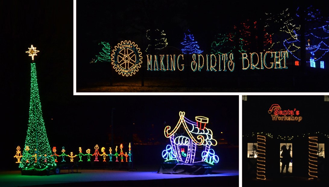 Making Spirits Bright holiday lights at Evergreen Park in Sheboygan, Wisconsin