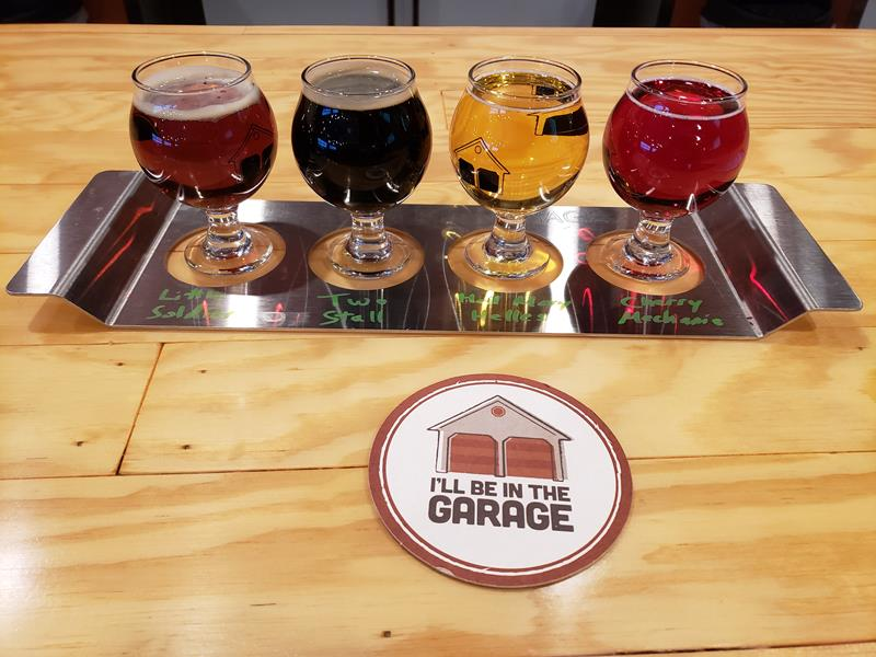 """A flight in the """"garage"""" at Ahnapee Brewery along I-41/US 141 in Suamico, Wisconsin"""
