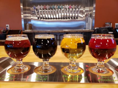 A flight by the taps at Ahnapee Brewery, along I-41/US 141 in Suamico, Wisconsin