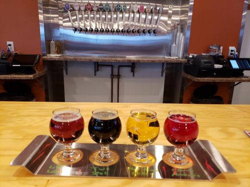 Flight and taps inside Ahnapee Brewery, just off I-41/US 141 in Suamico, Wisconsin