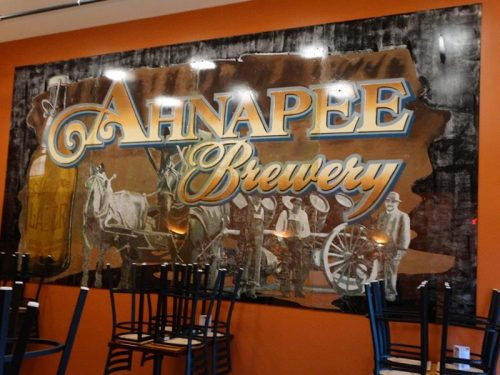 A large mural in the event room at Ahnapee Brewery, just off I-41 & U.S. 141 in Suamico, Wisconsin