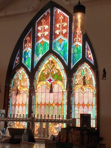 The beautiful stained glass reminds you of the former church building Topsy Turvy Brewing currently occupies in Lake Geneva, Wisconsin
