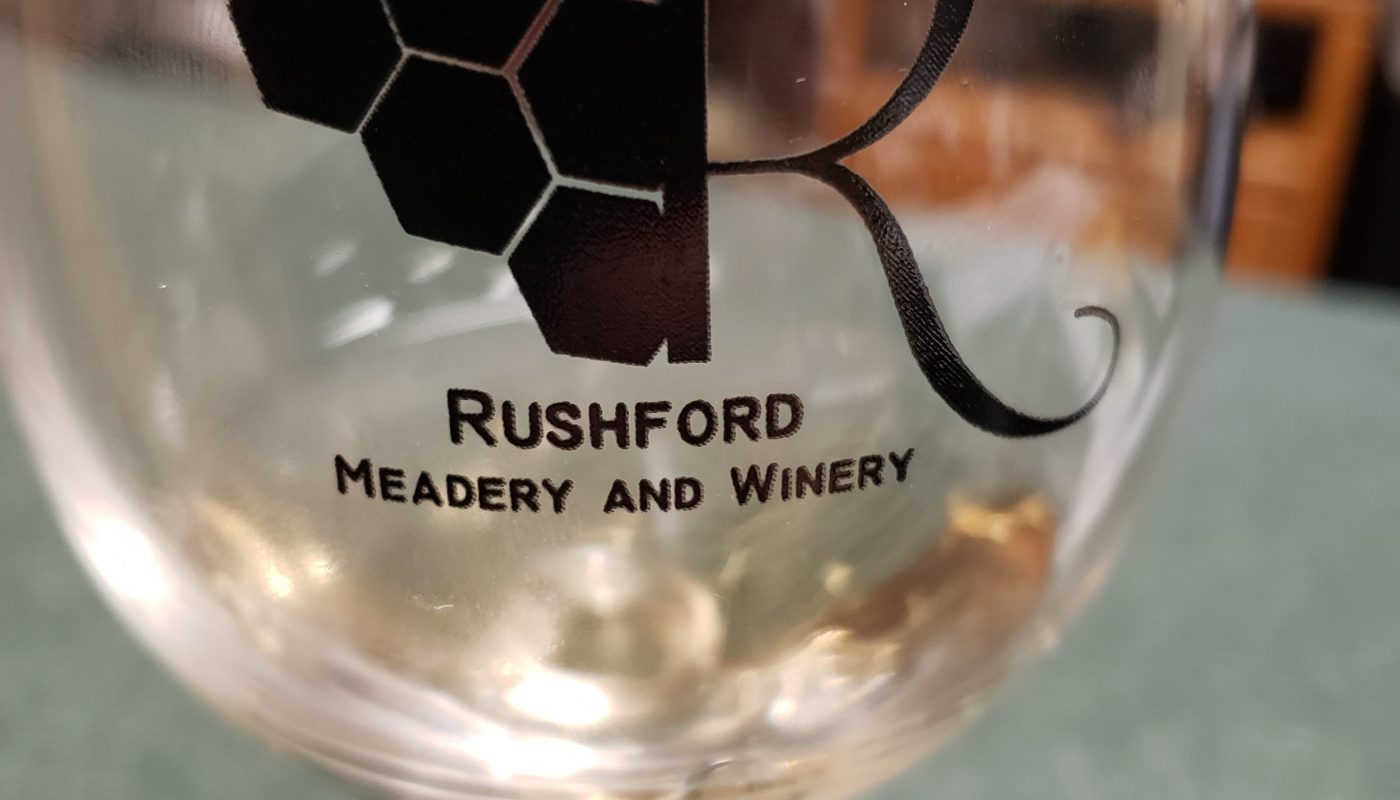 Finishing a sample at Rushford Meadery & Winery outside Omro, Wisconsin