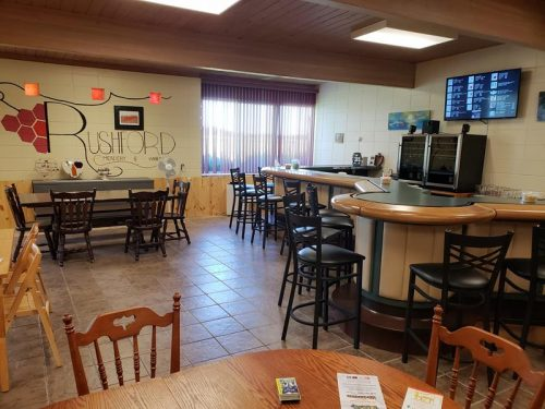 The Tasting Room - once a classroom - at Rushford Meadery & Winery outside Omro, Wisconsin
