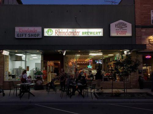 Sidewalk enjoyment of beers outside the Rhinelander and Hodag Breweries on Brown Street in downtown Rhinelander.