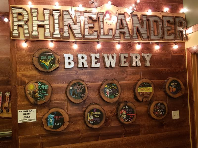 The back bar at Rhinelander Brewery & Hodag Brewing Company, Rhinelander, Wisconsin