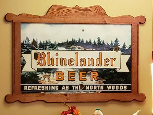 Old school sign at the Rhinelander Brewery, downtown Rhinelander, Wisconsin