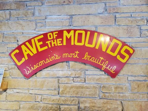 Cave of the Mounds sign inside the Visitor Center near Mount Horeb, Wisconsin