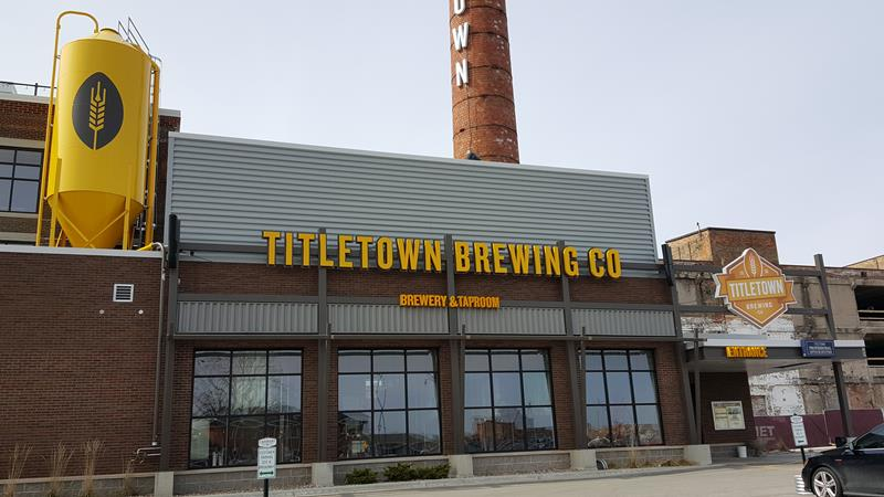 Titletown Brewing Company, along U.S. 141 in Green Bay, Wisconsin