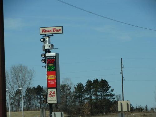 The eye-catching vertical truck sign at Kwik Trip in Mauston, Wisconsin, along I-90/94 at Highway 82.