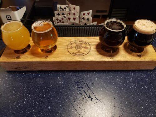 Beer flight at Right Bauer Brewing, Sun Prairie, Wisconsin
