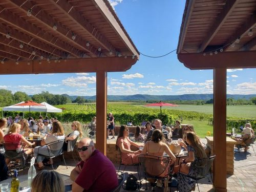 Patio on a summer day at Elmaro Vineyard & Winery, Trempealeau, Wisconsin