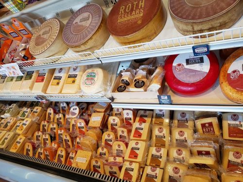 Cheese selections at Alp & Dell Cheese Shop, Monroe, Wisconsin