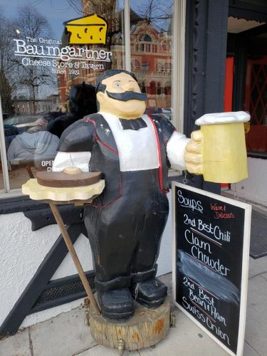 Baumgartner's Cheese Store & Tavern on the town square in Monroe, Wisconsin