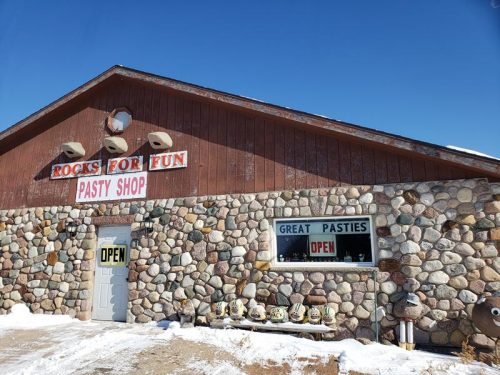 Rocks For Fun Cafe & Pasty Shop along U.S. 45 in Tigerton, Wisconsin