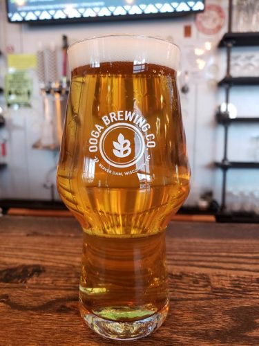 A pint of Holla! Jalapeno Cream Ale at Ooga Brewing Company, Beaver Dam, Wisconsin