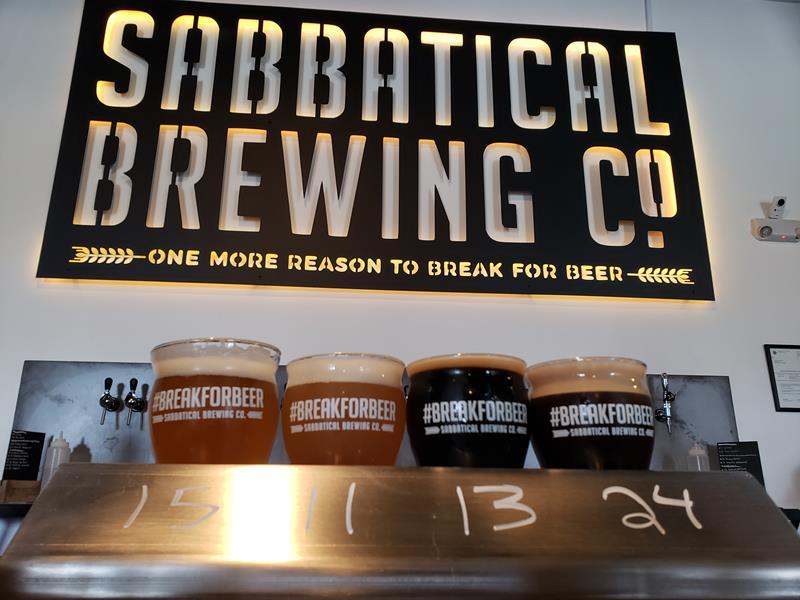 Flight at Sabbatical Brewing Company, Manitowoc, Wisconsin