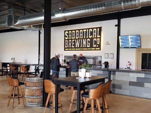 Tap room and bar at Sabbatical Brewing Company, Manitowoc, Wisconsin