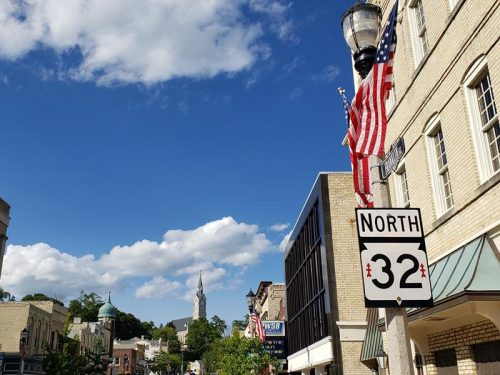 Highway 32 is Franklin Street through downtown Port Washington, Wisconsin
