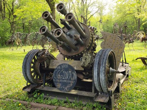 The 1881 Egginton cannon at Dr. Evermor's Art & Sculpture Park, along U.S. 12 between Sauk City and Baraboo, Wisconsin