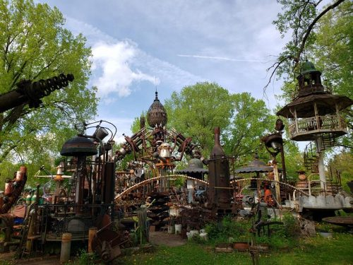 Forevertron towers above Dr. Evermor's Art & Sculpture Park, along U.S. 12 between Sauk City and Baraboo, Wisconsin
