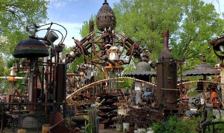 Forevertron, the largest scrap metal sculpture in the world, at Dr. Evermor's Art & Sculpture Park, along U.S. 12 between Sauk City and Baraboo, Wisconsin