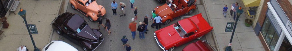 A peek of Main Street during the Hartford Classic Car Show in Hartford, Wisconsin