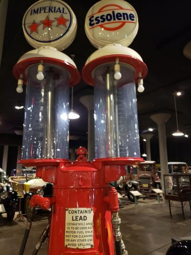 Old school gas pumps at the Wisconsin Automotive Museum, Hartford, Wisconsin