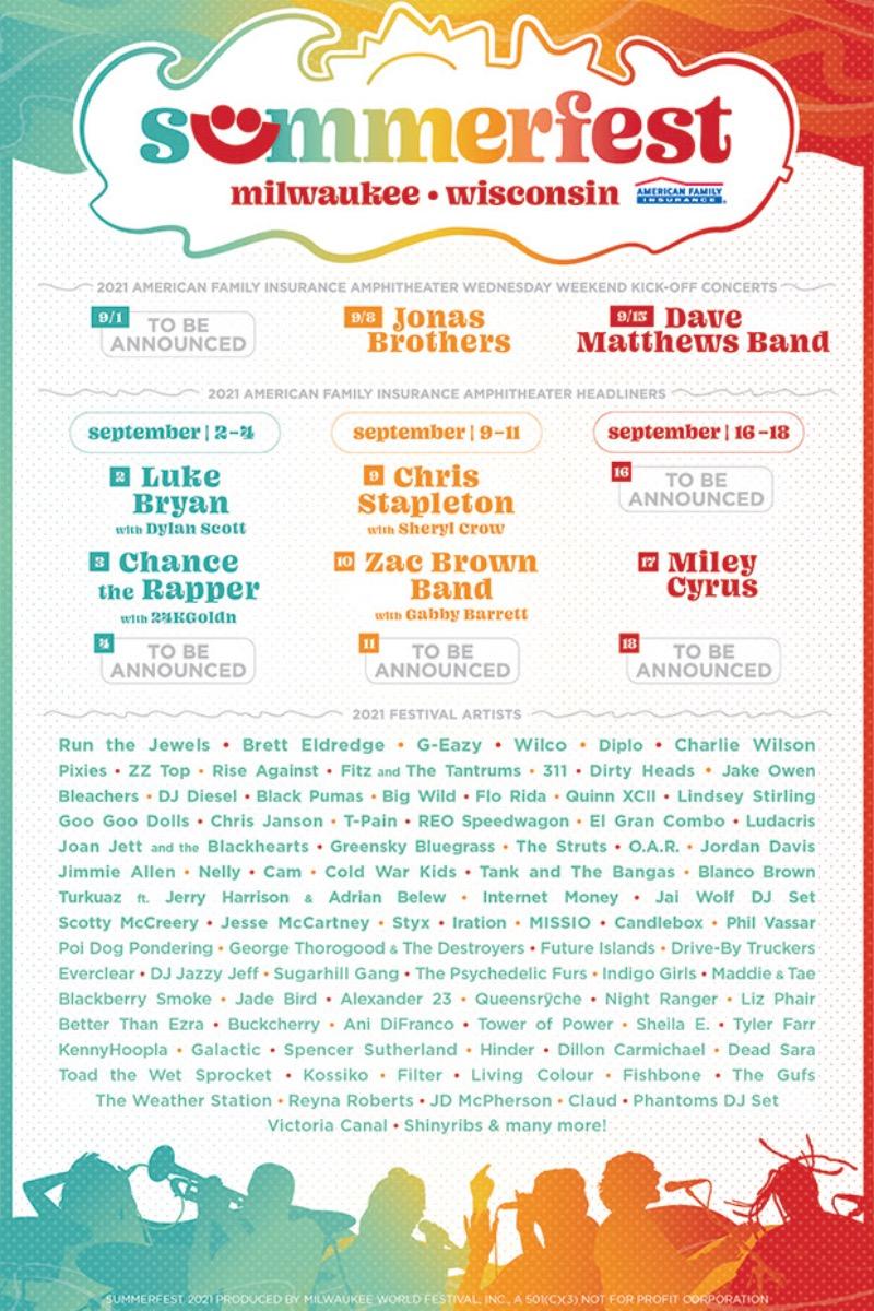 Summerfest 2021 lineup, September 2-5, 9-11, 16, 18, 2021 in Milwaukee, Wisconsin