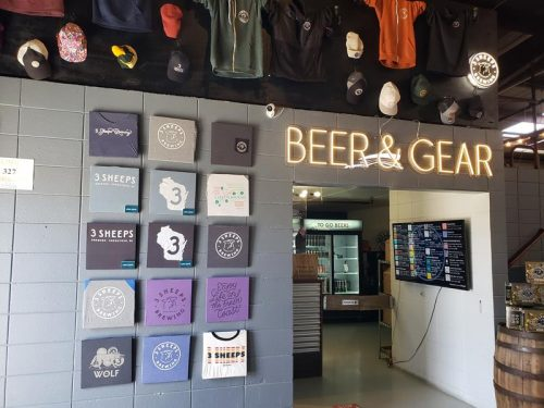 The Beer & Gear Store at 3 Sheeps Brewing in Sheboygan, Wisconsin