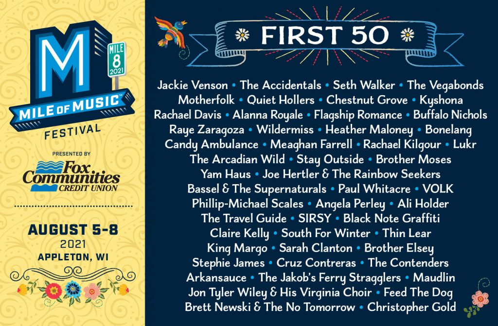 First 50 artists announced for Mile of Music, August 5-8, 2021 in Appleton, Wisconsin