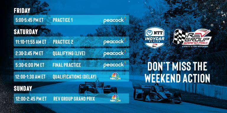 NTT IndyCar Series at Road America Schedule, weekend of June 18-20, 2021