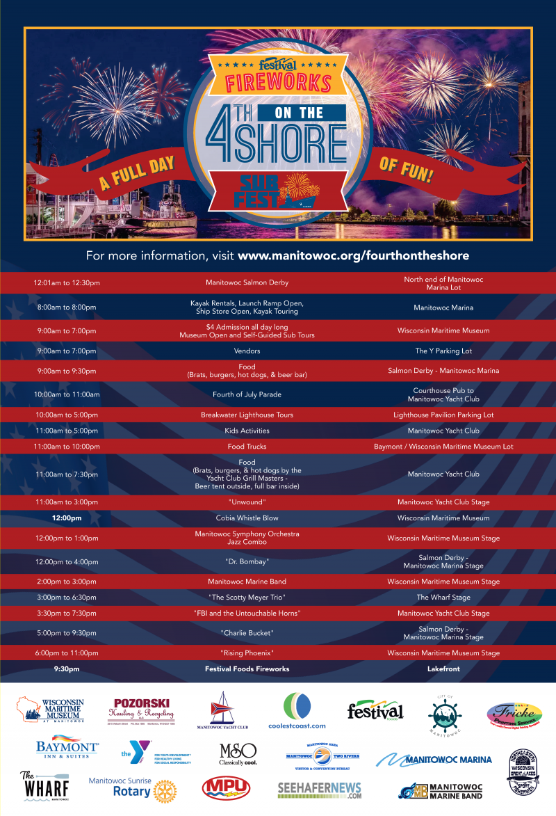 Four On the Shore schedule of events for July 4, 2021 in Manitowoc, Wisconsin