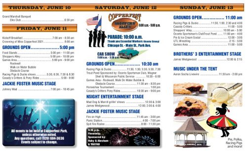 Copperfest 2021 events, happening June 11-13, 2021 in Oconto, Wisconsin