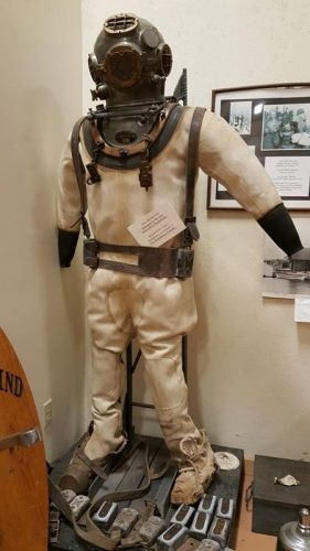 A diver suit at the Historic Rogers Street Fishing Village in Two Rivers, Wisconsin