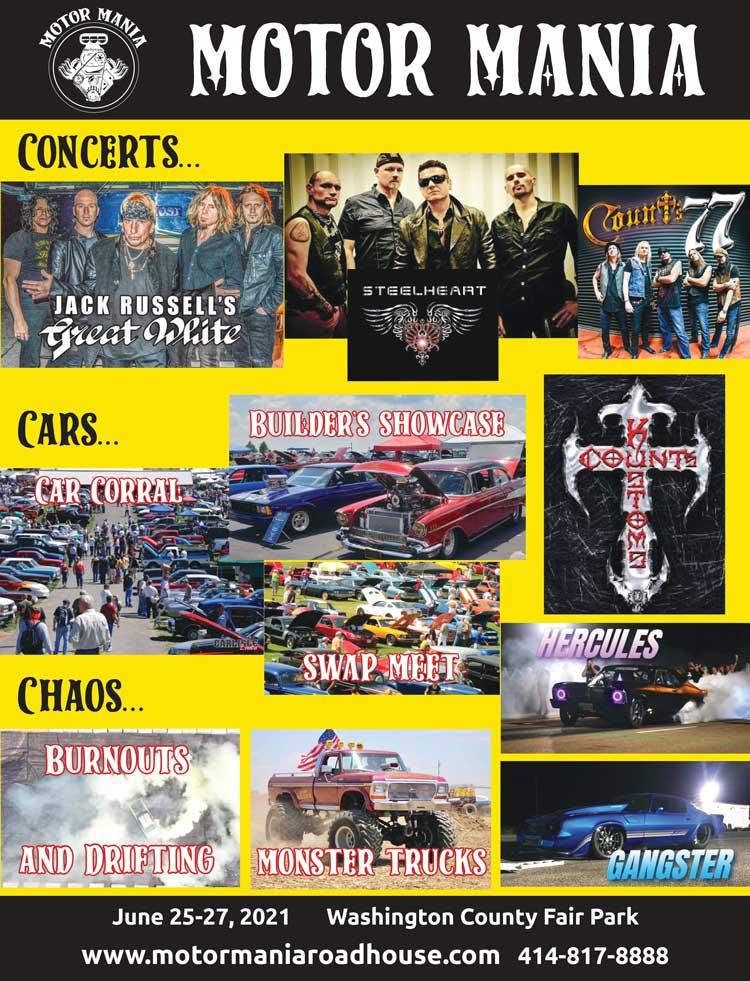 Motor Mania at Washington County Fair Park, June 25-27, 2021 near West Bend, Wisconsin off U.S. 45