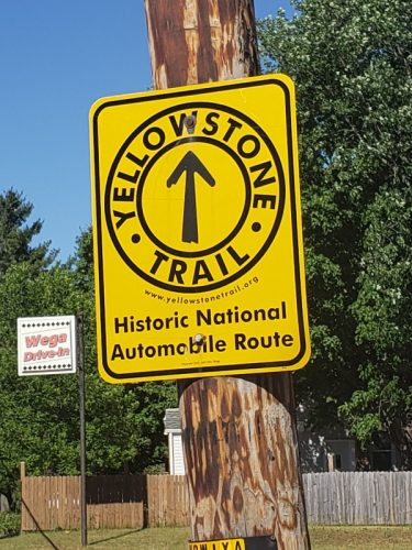 The historic Yellowstone Trail passes by the Wega Drive-In in Weyauwega, Wisconsin, just north of the U.S. 10 freeway.