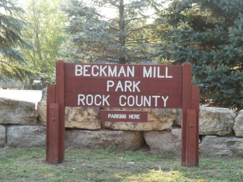 Beckman Mill County Park sign, along County H about six miles west of Beloit, Wisconsin off Highway 81
