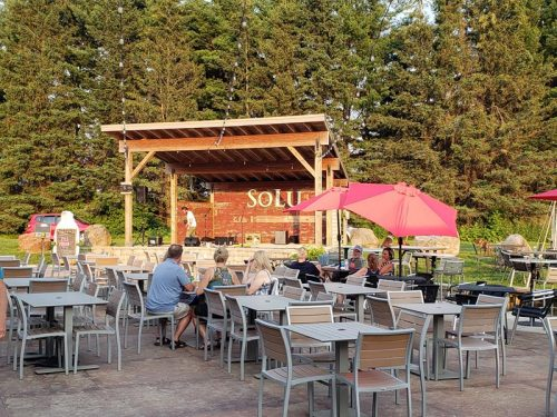 The outdoor patio at SoLu Estate Winery & Meadery, near Cascade, Wisconsin