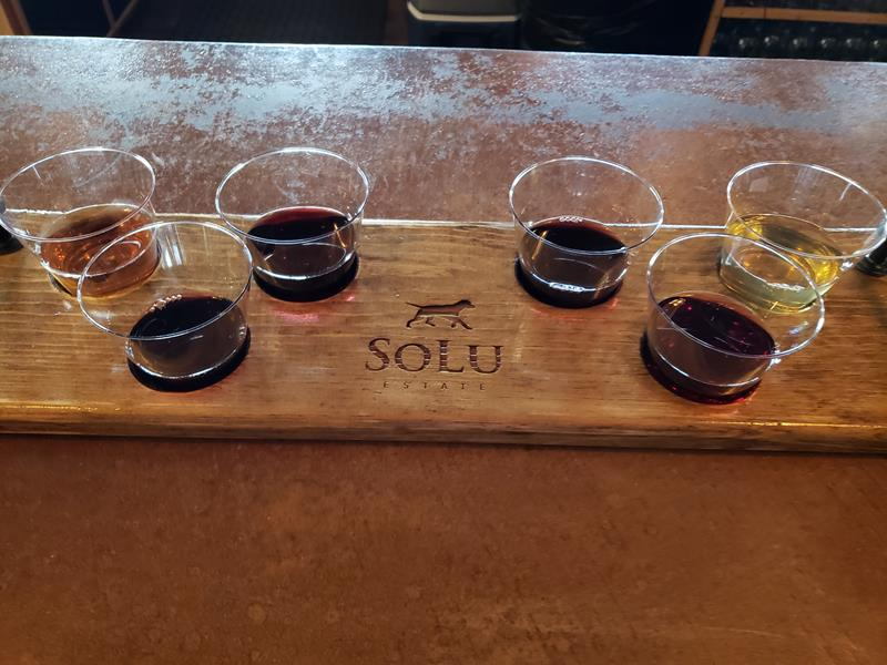 Samples of wine and mead at SoLu Estate Winery & Meadery, near Cascade, Wisconsin