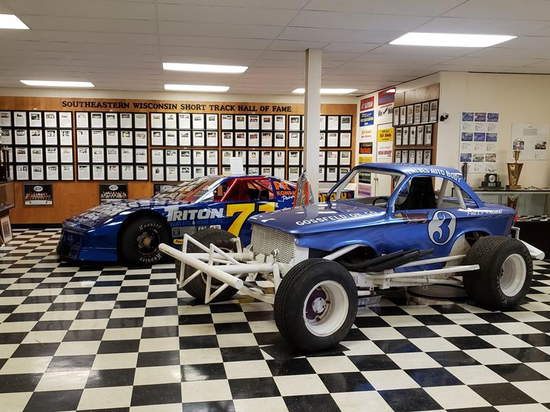Display race cars at the Southeastern Wisconsin Short Track Hall of Fame inside the Wisconsin Automotive Museum in Hartford, Wisconsin