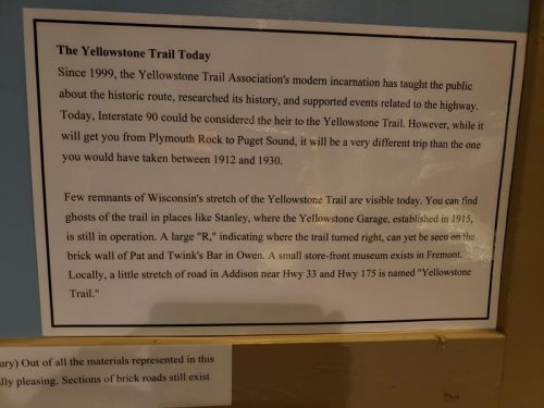 Yellowstone Trail info as part of the Wisconsin's Highway History exhibit at the Wisconsin Automotive Museum in Hartford, Wisconsin